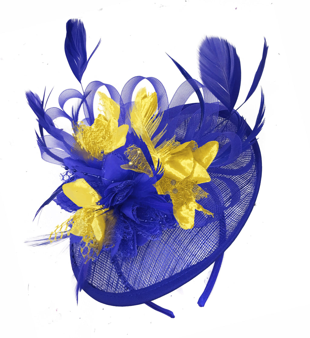 Caprilite Blue and Gold Sinamay Disc Saucer Fascinator Hat for Women Weddings Headband