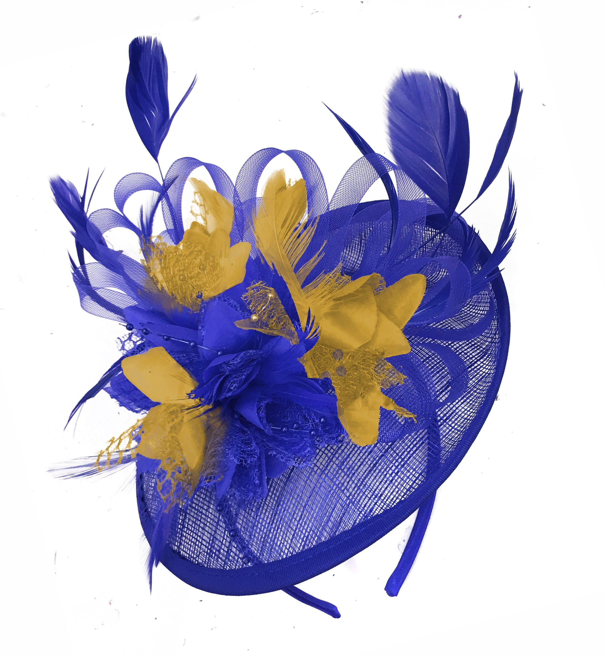 Caprilite Blue and Mustard Sinamay Disc Saucer Fascinator Hat for Women Weddings Headband