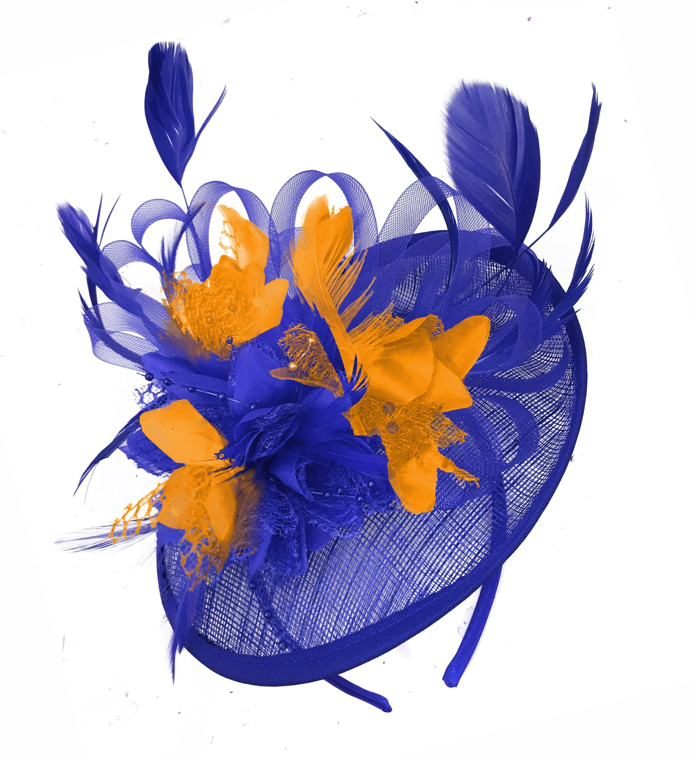 Caprilite Blue and Orange Sinamay Disc Saucer Fascinator Hat for Women Weddings Headband