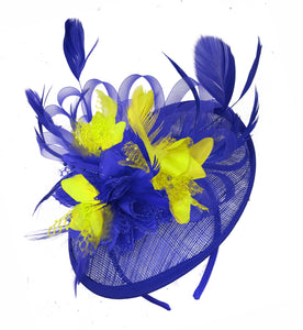 Caprilite Blue and Yellow Sinamay Disc Saucer Fascinator Hat for Women Weddings Headband