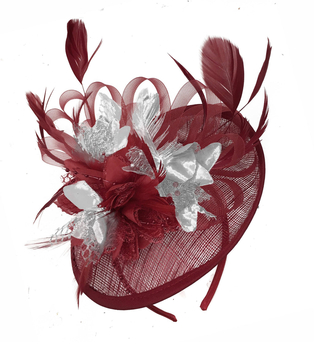 Caprilite Burgundy and Silver Sinamay Disc Saucer Fascinator Hat for Women Weddings Headband