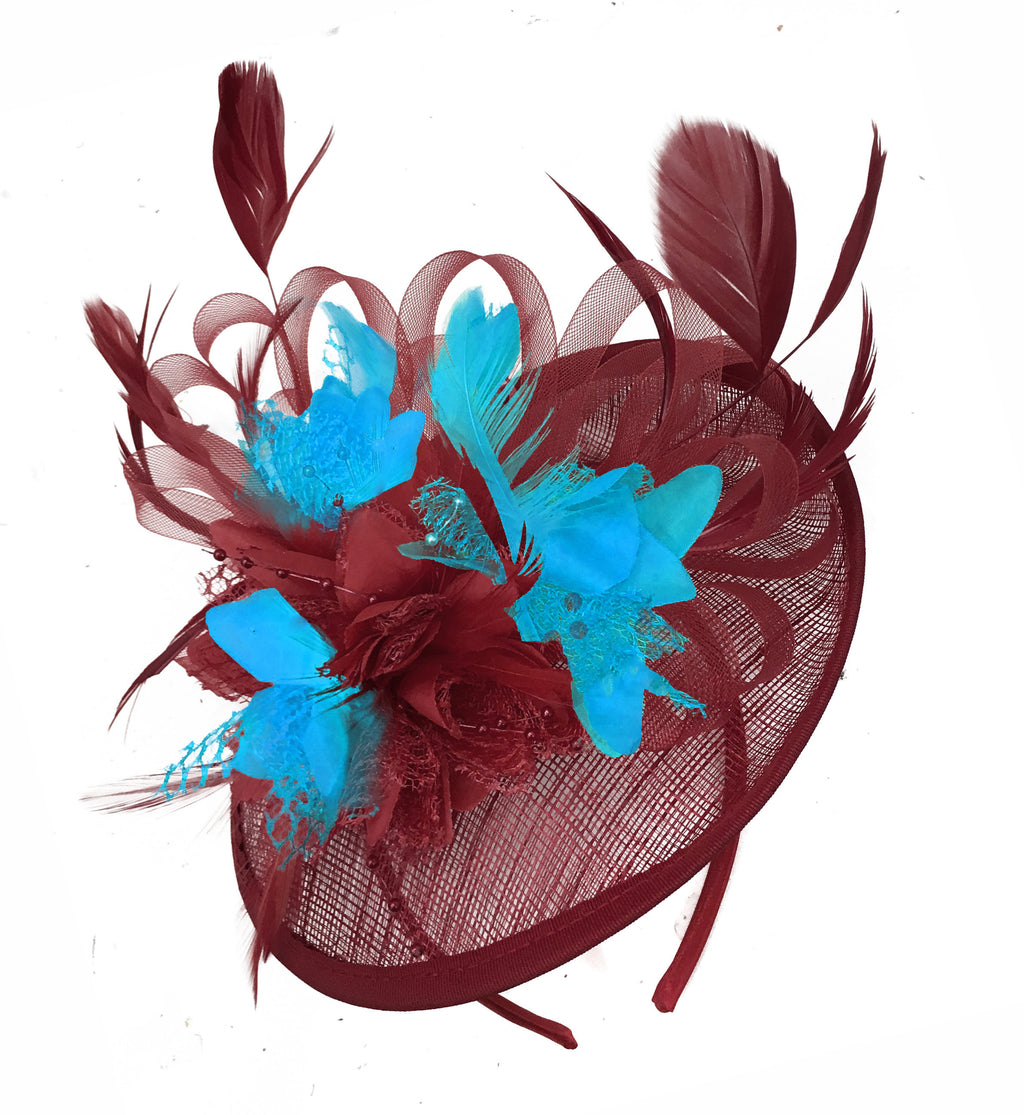 Caprilite Burgundy and Aqua Sinamay Disc Saucer Fascinator Hat for Women Weddings Headband