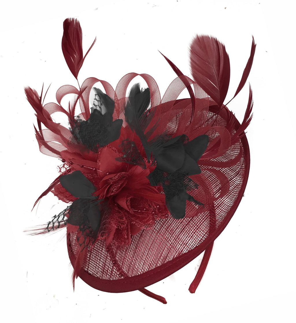 Caprilite Burgundy and Black Sinamay Disc Saucer Fascinator Hat for Women Weddings Headband