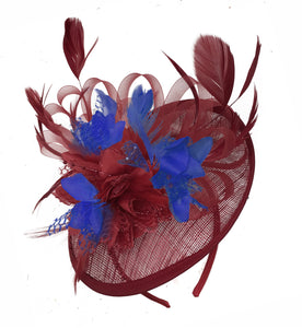 Caprilite Burgundy and Royal Blue Sinamay Disc Saucer Fascinator Hat for Women Weddings Headband