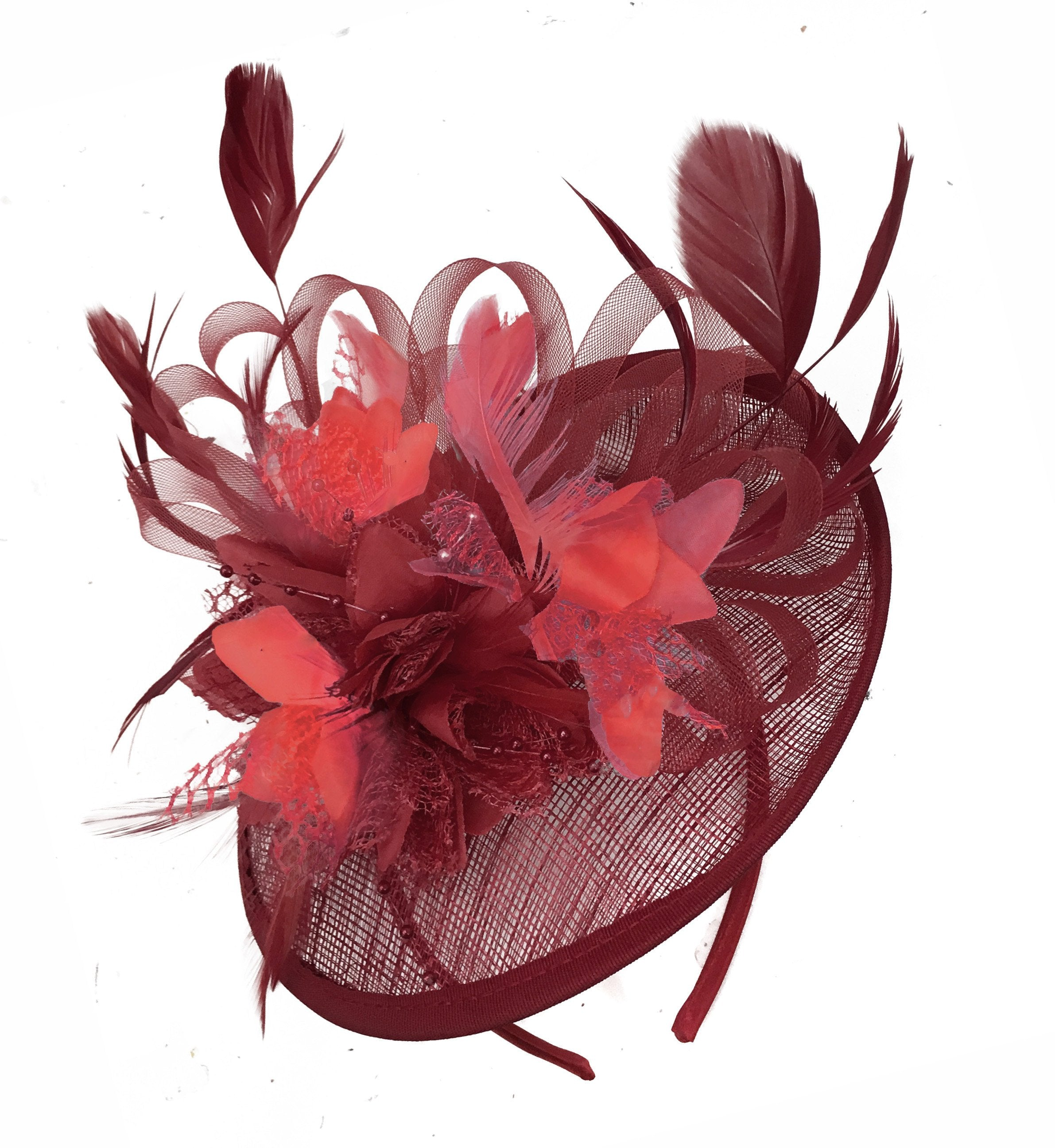 Caprilite Burgundy and Coral Sinamay Disc Saucer Fascinator Hat for Women Weddings Headband