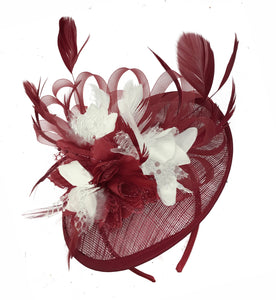 Caprilite Burgundy and Cream Sinamay Disc Saucer Fascinator Hat for Women Weddings Headband