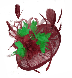 Caprilite Burgundy and Jade Green Sinamay Disc Saucer Fascinator Hat for Women Weddings Headband