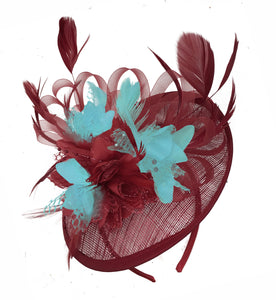 Caprilite Burgundy and Light Aqua Sinamay Disc Saucer Fascinator Hat for Women Weddings Headband