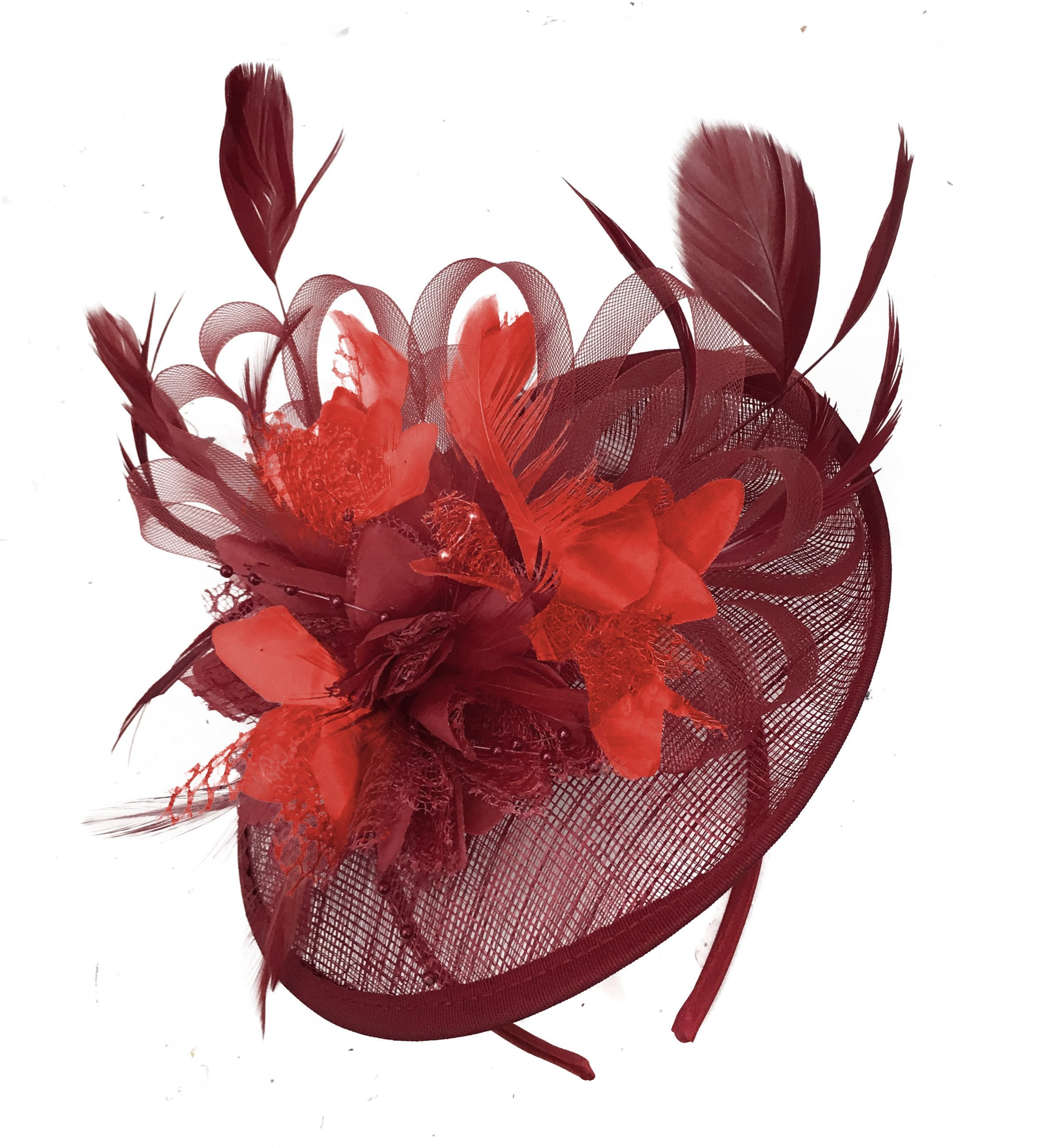 Caprilite Burgundy and Red Sinamay Disc Saucer Fascinator Hat for Women Weddings Headband