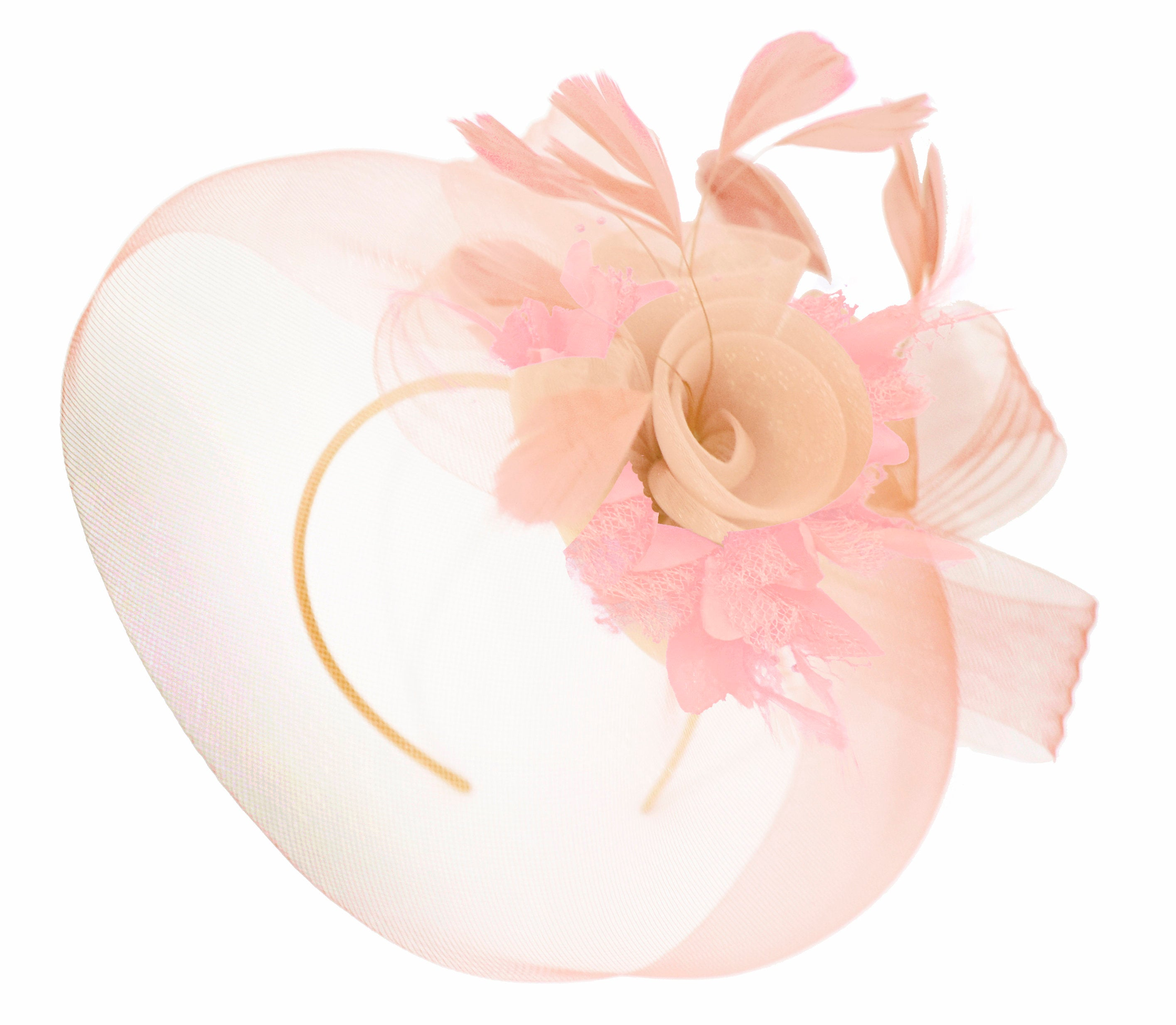 Caprilite Nude Pink Peach and Baby Pink Fascinator Hat Veil Net Hair Clip Ascot Derby Races Wedding Headband Feather Flower