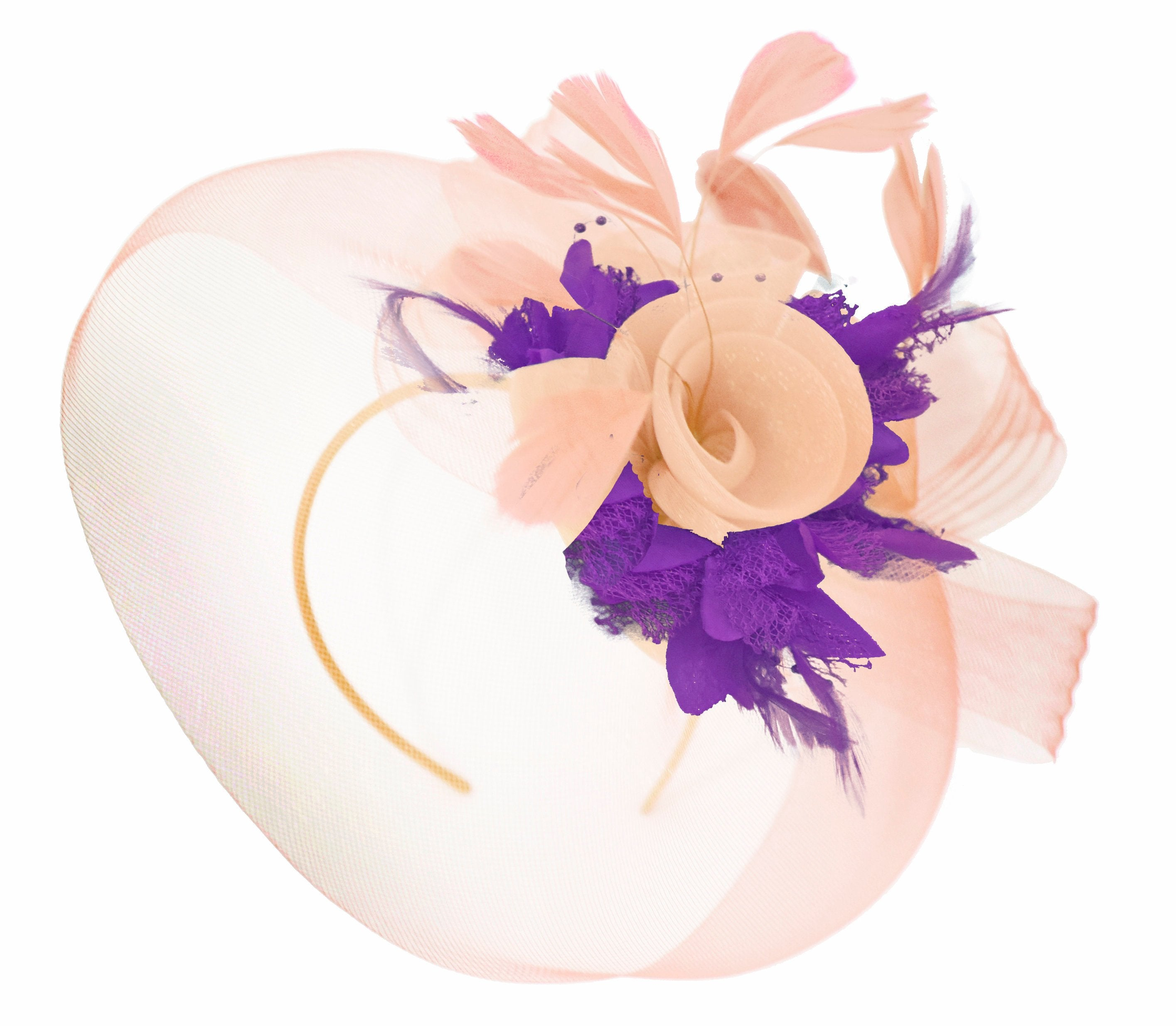 Caprilite Nude Pink Peach and Cadbury Purple Fascinator Hat Veil Net Hair Clip Ascot Derby Races Wedding Headband Feather Flower