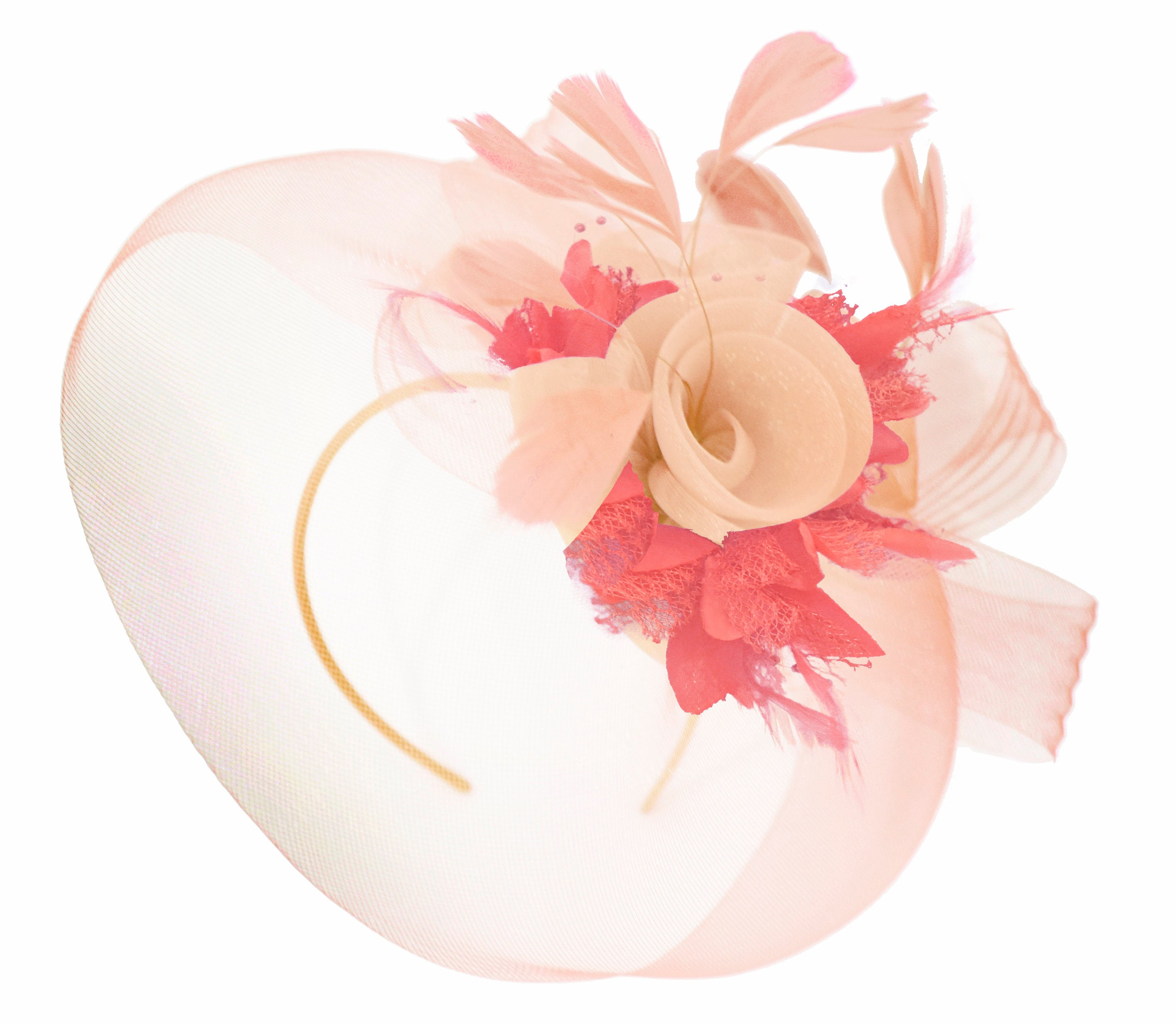 Caprilite Nude Pink Peach and Coral Red Fascinator Hat Veil Net Hair Clip Ascot Derby Races Wedding Headband Feather Flower