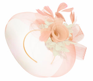 Caprilite Nude Pink Peach and Cream Fascinator Hat Veil Net Hair Clip Ascot Derby Races Wedding Headband Feather Flower