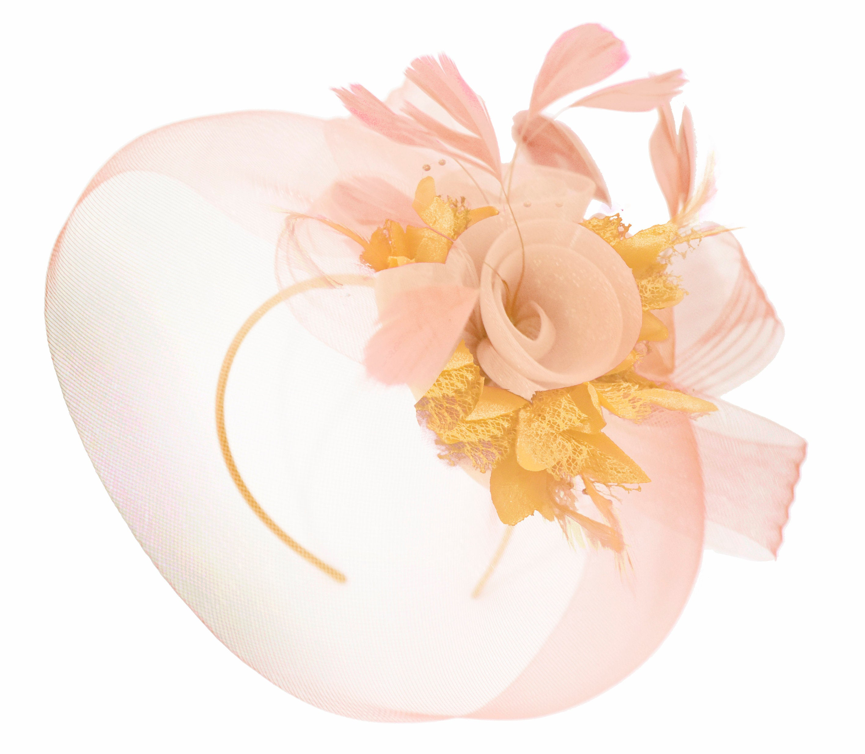 Caprilite Nude Pink Peach and Gold Fascinator Hat Veil Net Hair Clip Ascot Derby Races Wedding Headband Feather Flower