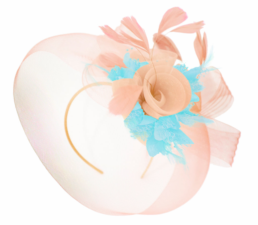 Caprilite Nude Pink Peach and Light Aqua Fascinator Hat Veil Net Hair Clip Ascot Derby Races Wedding Headband Feather Flower