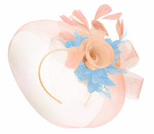 Caprilite Nude Pink Peach and Light Blue Fascinator Hat Veil Net Hair Clip Ascot Derby Races Wedding Headband Feather Flower