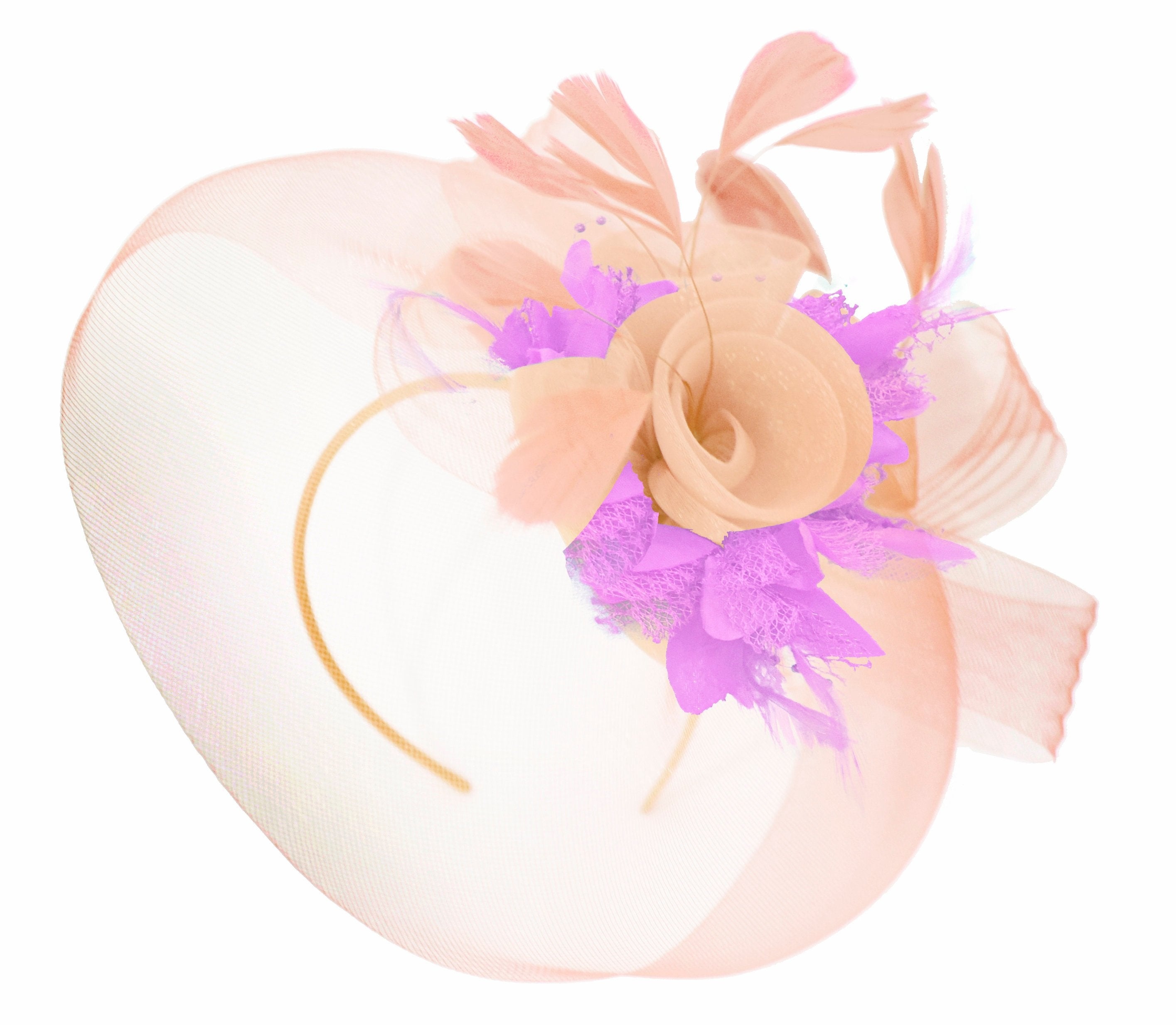 Caprilite Nude Pink Peach and Lilac Purple Fascinator Hat Veil Net Hair Clip Ascot Derby Races Wedding Headband Feather Flower