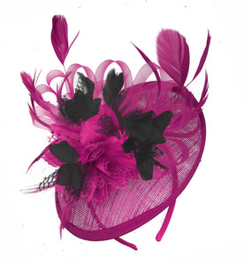 Caprilite Fuchsia Hot Pink and Black Sinamay Disc Saucer Fascinator Hat for Women Weddings Headband