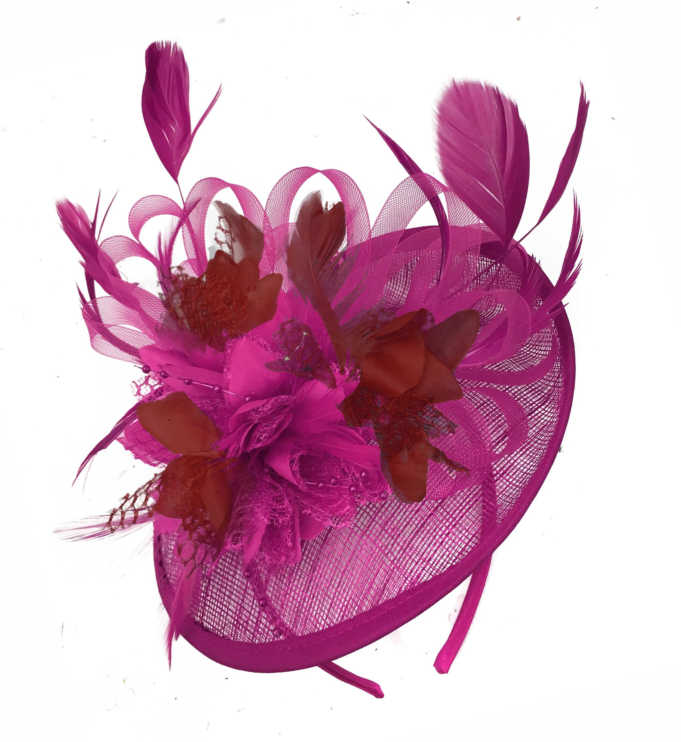 Caprilite Fuchsia Hot Pink and Burgundy Sinamay Disc Saucer Fascinator Hat for Women Weddings Headband