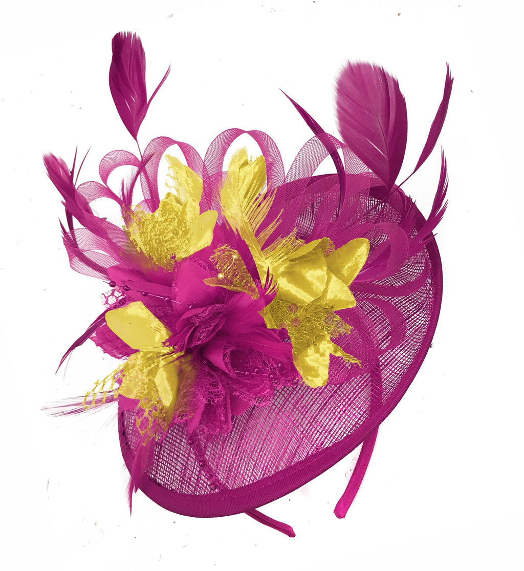 Caprilite Fuchsia Hot Pink and Gold Sinamay Disc Saucer Fascinator Hat for Women Weddings Headband