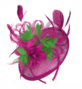 Caprilite Fuchsia Hot Pink and Jade Green Sinamay Disc Saucer Fascinator Hat for Women Weddings Headband