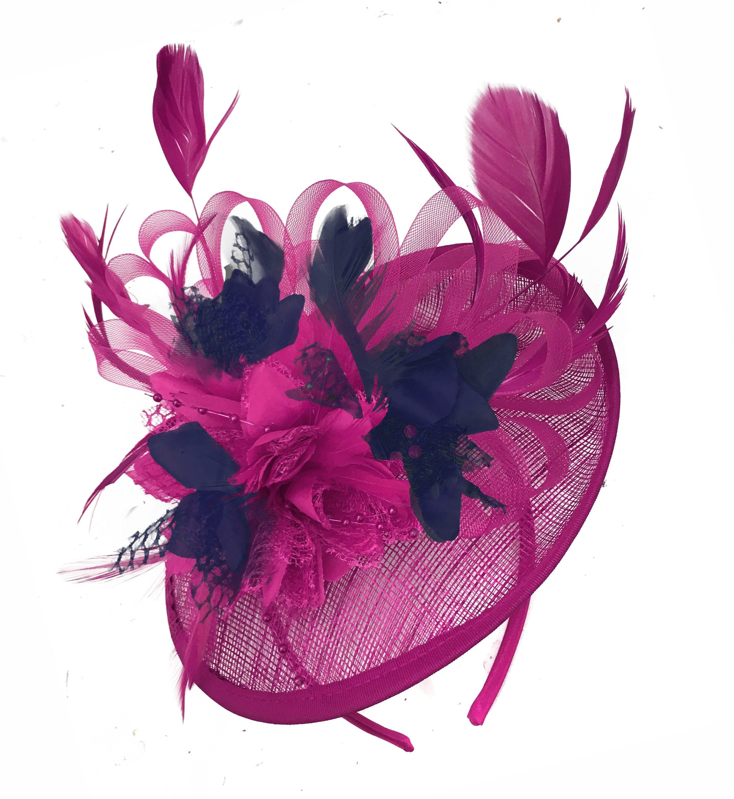 Caprilite Fuchsia Hot Pink and Navy Blue Sinamay Disc Saucer Fascinator Hat for Women Weddings Headband