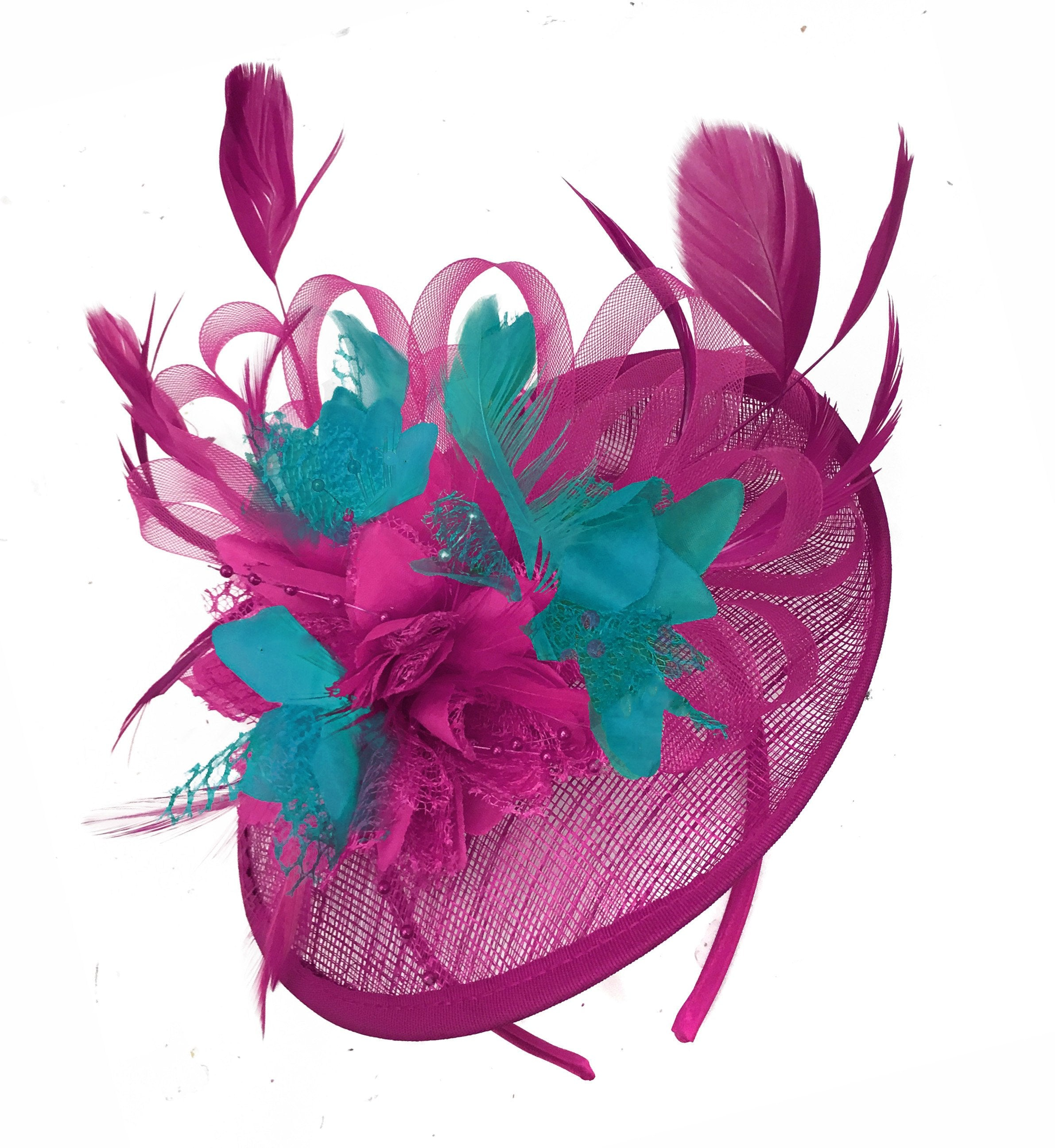 Caprilite Fuchsia Hot Pink and Teal Blue Sinamay Disc Saucer Fascinator Hat for Women Weddings Headband