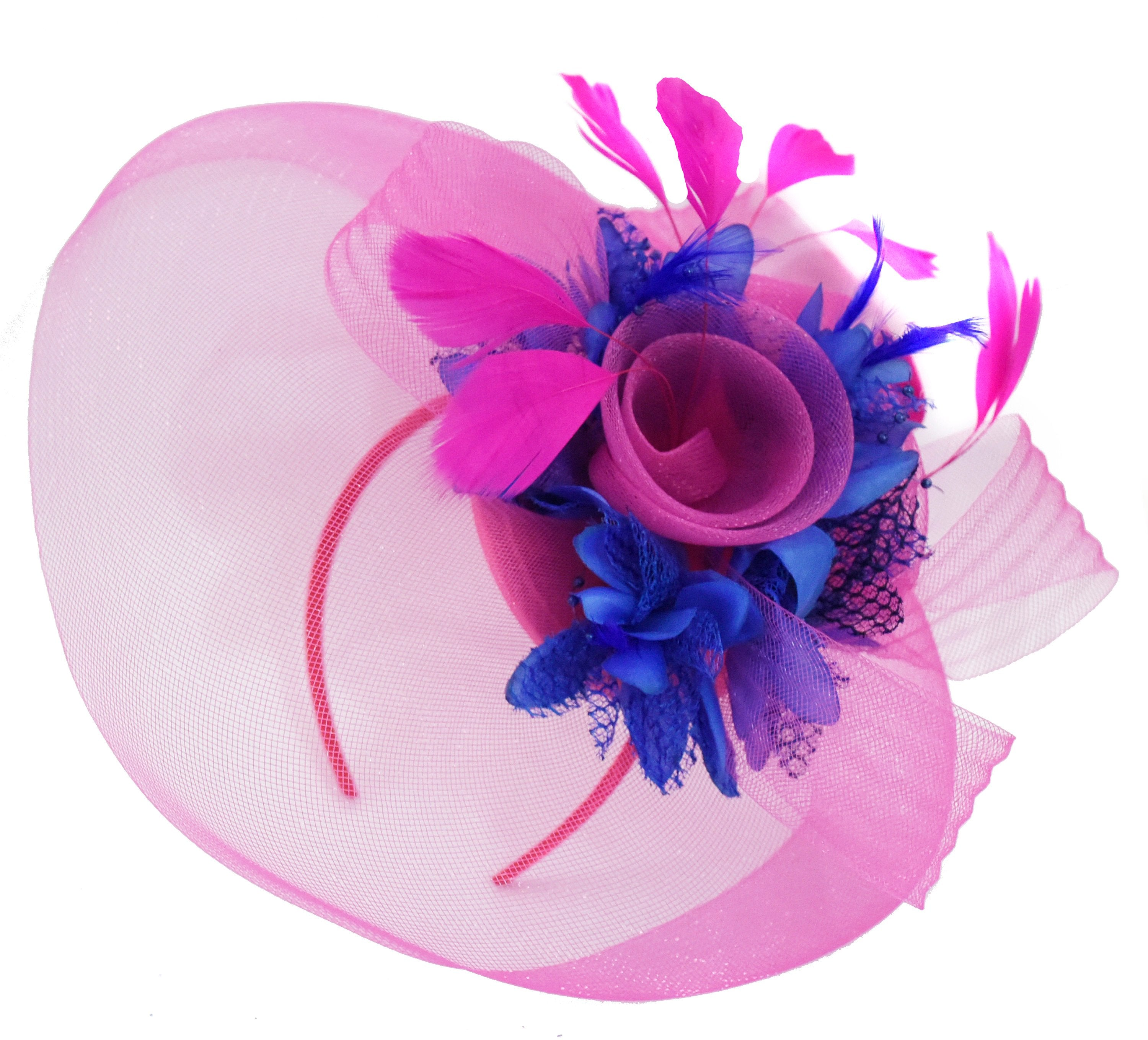 Caprilite Fuchsia Hot Pink and Royal Blue Fascinator Hat Veil Net Hair Clip Ascot Derby Races Wedding Headband Feather Flower