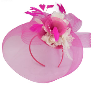 Caprilite Fuchsia Hot Pink and Cream Fascinator Hat Veil Net Hair Clip Ascot Derby Races Wedding Headband Feather Flower