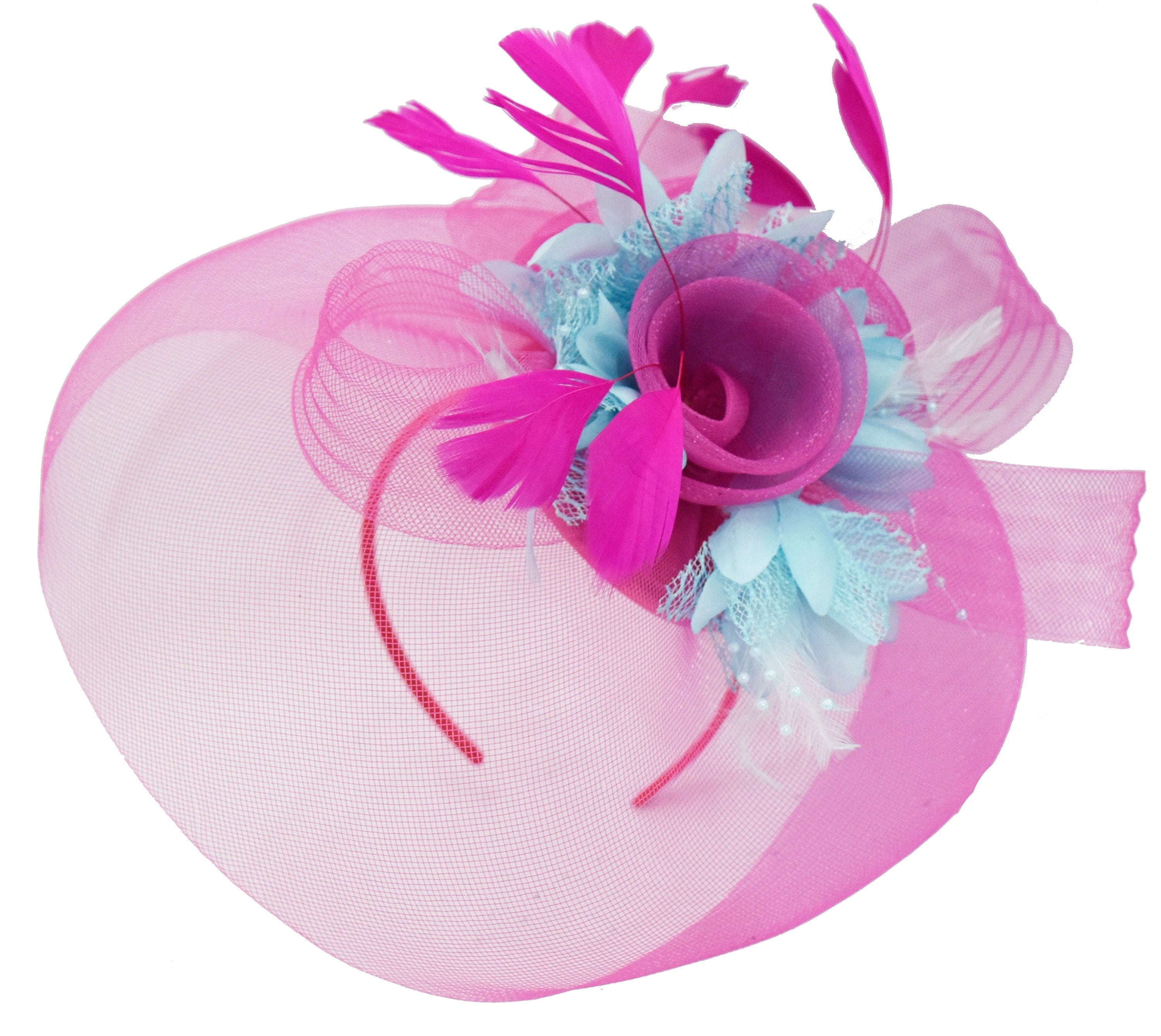 Caprilite Fuchsia Hot Pink and Light Blue Fascinator Hat Veil Net Hair Clip Ascot Derby Races Wedding Headband Feather Flower