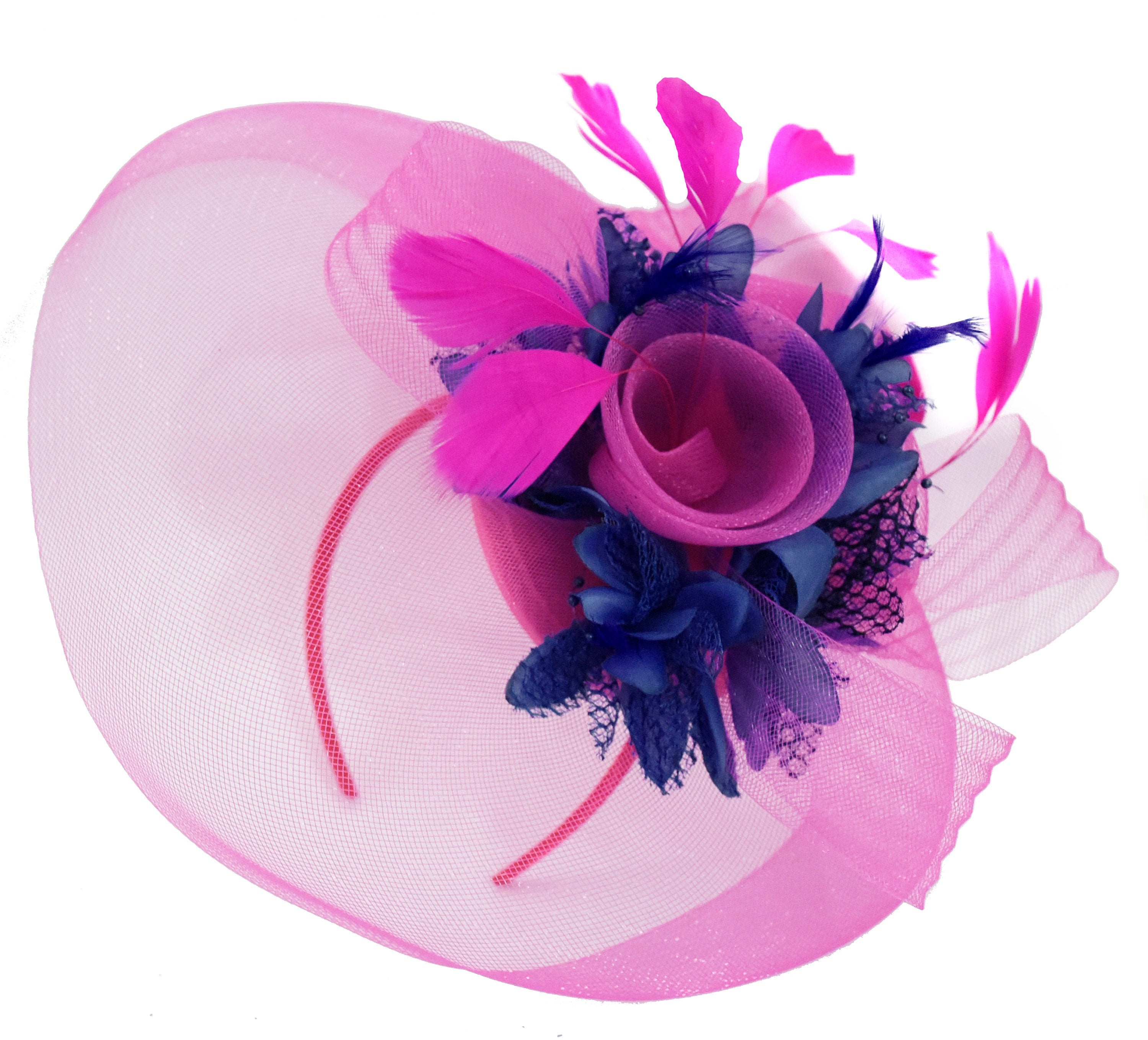 Caprilite Fuchsia Hot Pink and Navy Blue Fascinator Hat Veil Net Hair Clip Ascot Derby Races Wedding Headband Feather Flower