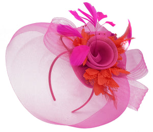 Caprilite Fuchsia Hot Pink and Red Fascinator Hat Veil Net Hair Clip Ascot Derby Races Wedding Headband Feather Flower