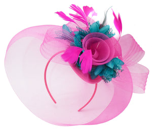 Caprilite Fuchsia Hot Pink and Teal Blue Fascinator Hat Veil Net Hair Clip Ascot Derby Races Wedding Headband Feather Flower