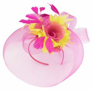 Caprilite Fuchsia Hot Pink and Yellow Fascinator Hat Veil Net Hair Clip Ascot Derby Races Wedding Headband Feather Flower