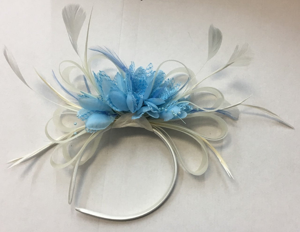 Caprilite White and Baby Blue Fascinator on Headband Alice Band UK Wedding Ascot Races Derby