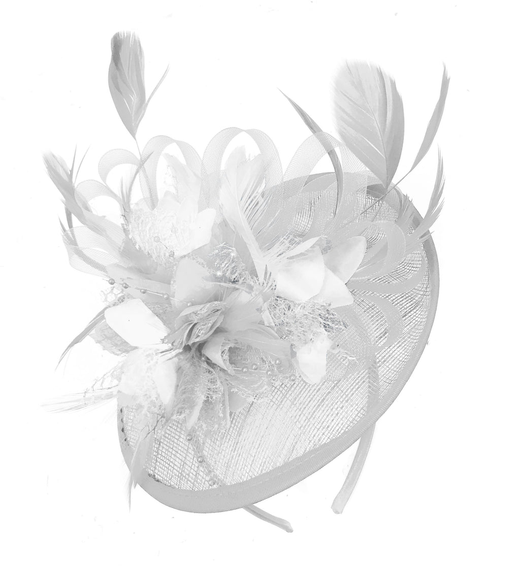 Caprilite White and White Sinamay Disc Saucer Fascinator Hat for Women Weddings Headband