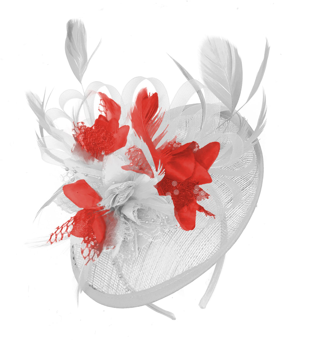 Caprilite White and Red Sinamay Disc Saucer Fascinator Hat for Women Weddings Headband