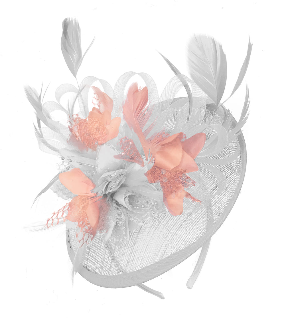 Caprilite White and Nude Sinamay Disc Saucer Fascinator Hat for Women Weddings Headband
