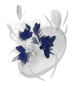 Caprilite White and Navy Sinamay Disc Saucer Fascinator Hat for Women Weddings Headband