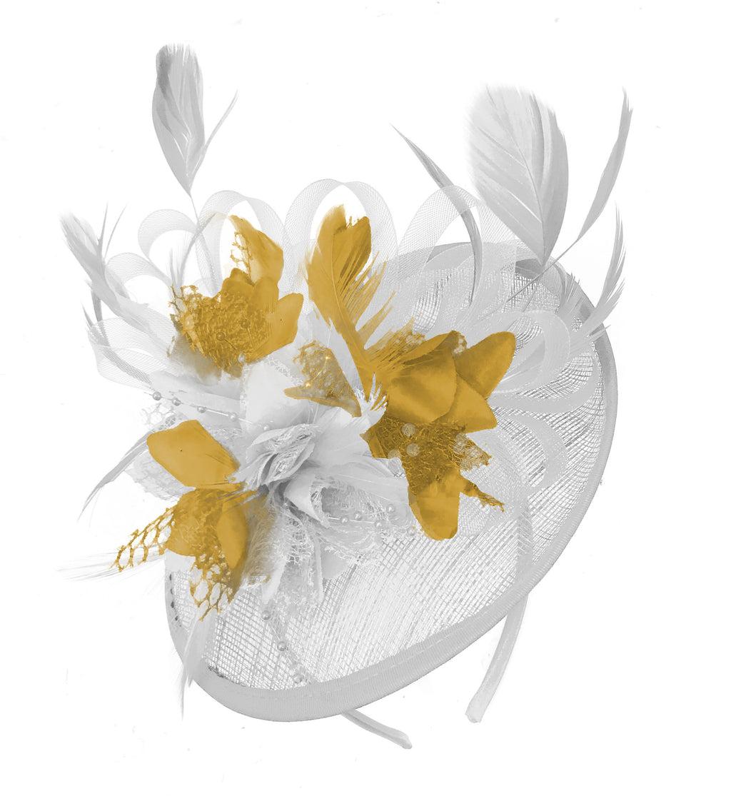 Caprilite White and Mustard Sinamay Disc Saucer Fascinator Hat for Women Weddings Headband