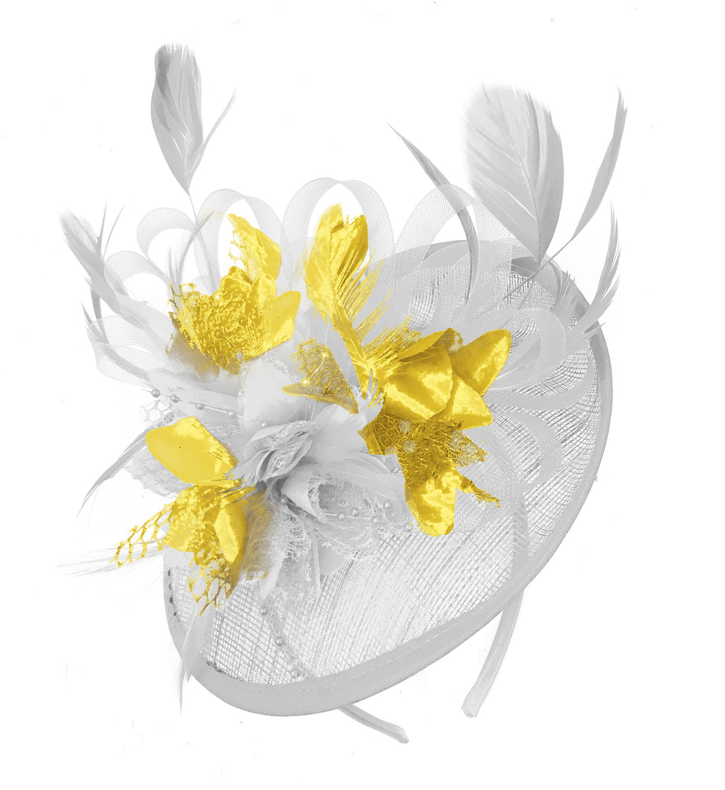 Caprilite White and Gold Sinamay Disc Saucer Fascinator Hat for Women Weddings Headband