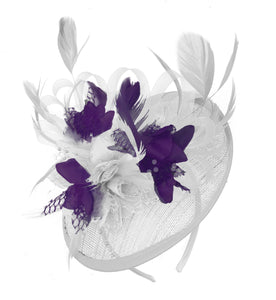Caprilite White and Dark Purple Sinamay Disc Saucer Fascinator Hat for Women Weddings Headband