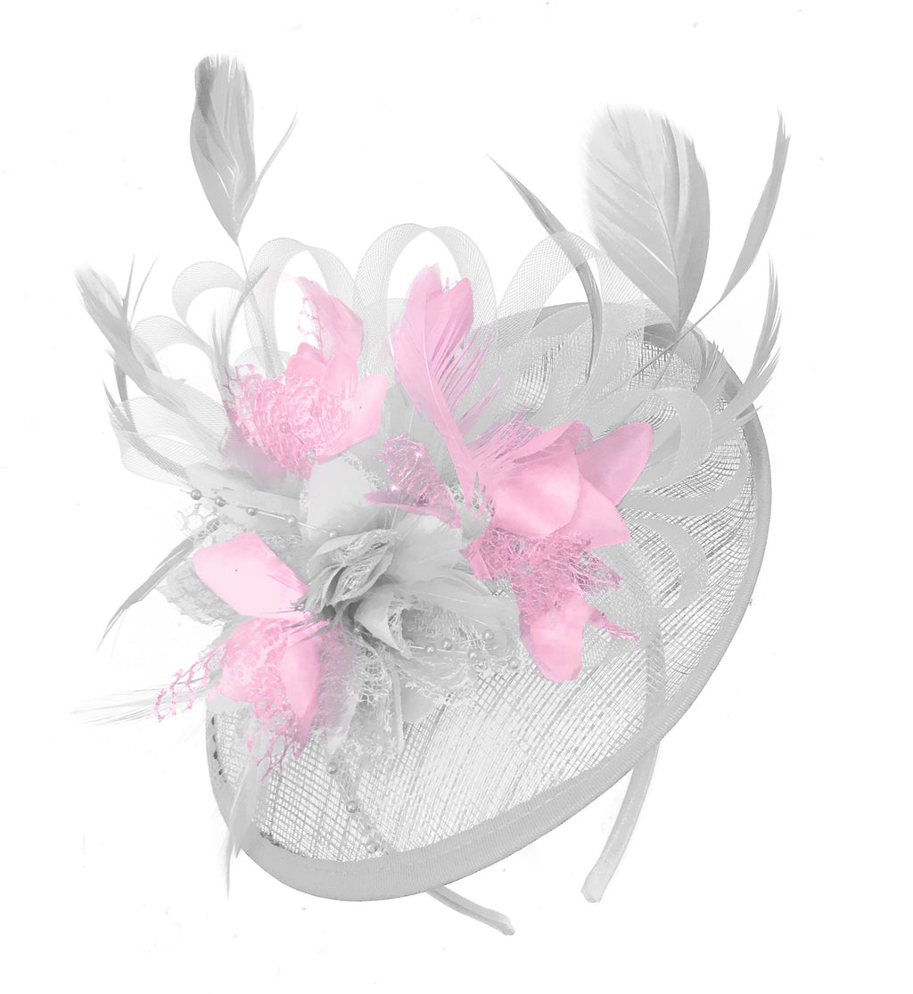 Caprilite White and Baby Pink Sinamay Disc Saucer Fascinator Hat for Women Weddings Headband