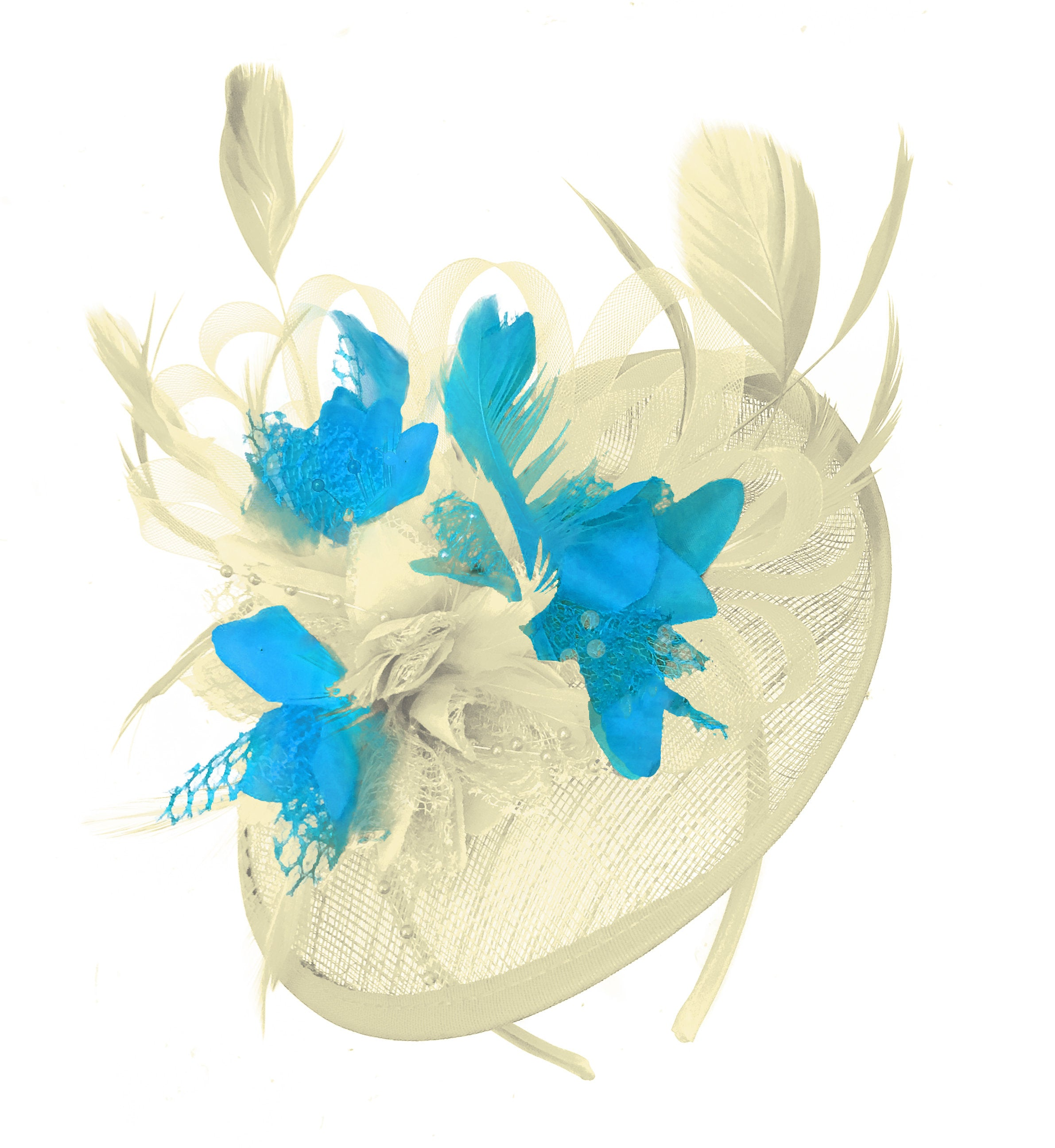 Caprilite Cream and Aqua  Sinamay Disc Saucer Fascinator Hat for Women Weddings Headband