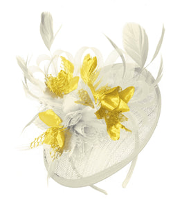 Caprilite Cream and Gold Sinamay Disc Saucer Fascinator Hat for Women Weddings Headband