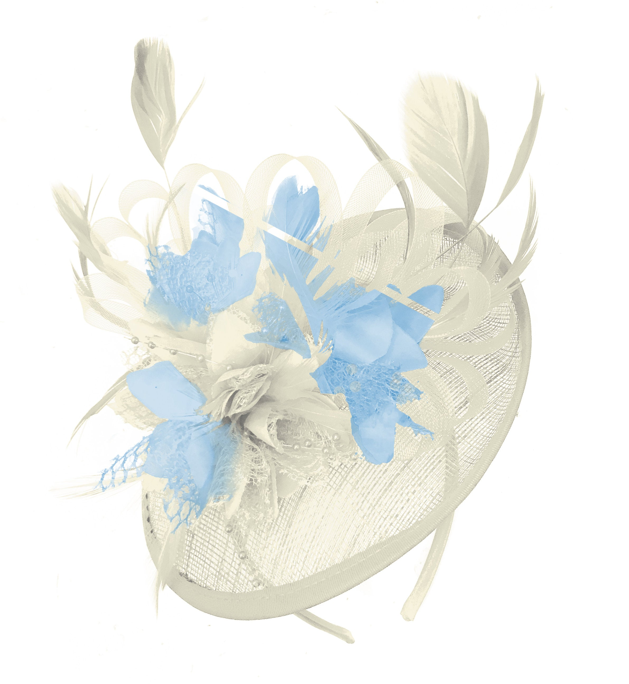 Caprilite Cream and Light Blue Sinamay Disc Saucer Fascinator Hat for Women Weddings Headband