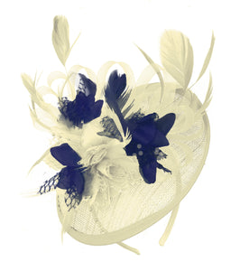 Caprilite Cream and Navy Sinamay Disc Saucer Fascinator Hat for Women Weddings Headband