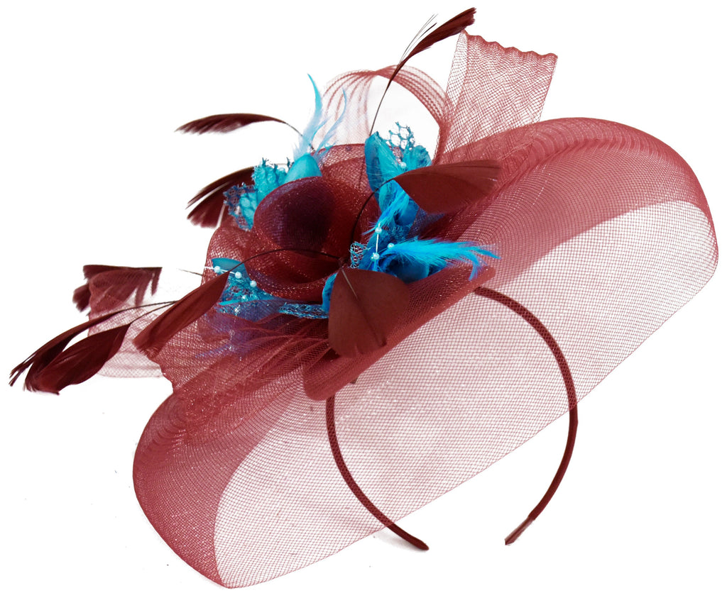 Caprilite Burgundy and Aqua Fascinator on Headband Veil UK Wedding Ascot Races Hatinator