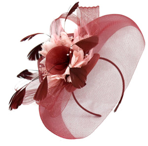 Caprilite Burgundy and Baby Pink Fascinator on Headband Veil UK Wedding Ascot Races Hatinator