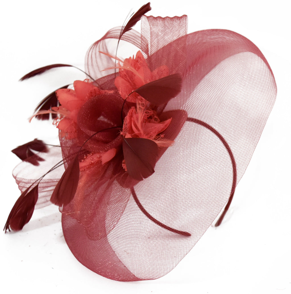 Caprilite Burgundy and Coral Fascinator on Headband Veil UK Wedding Ascot Races Hatinator
